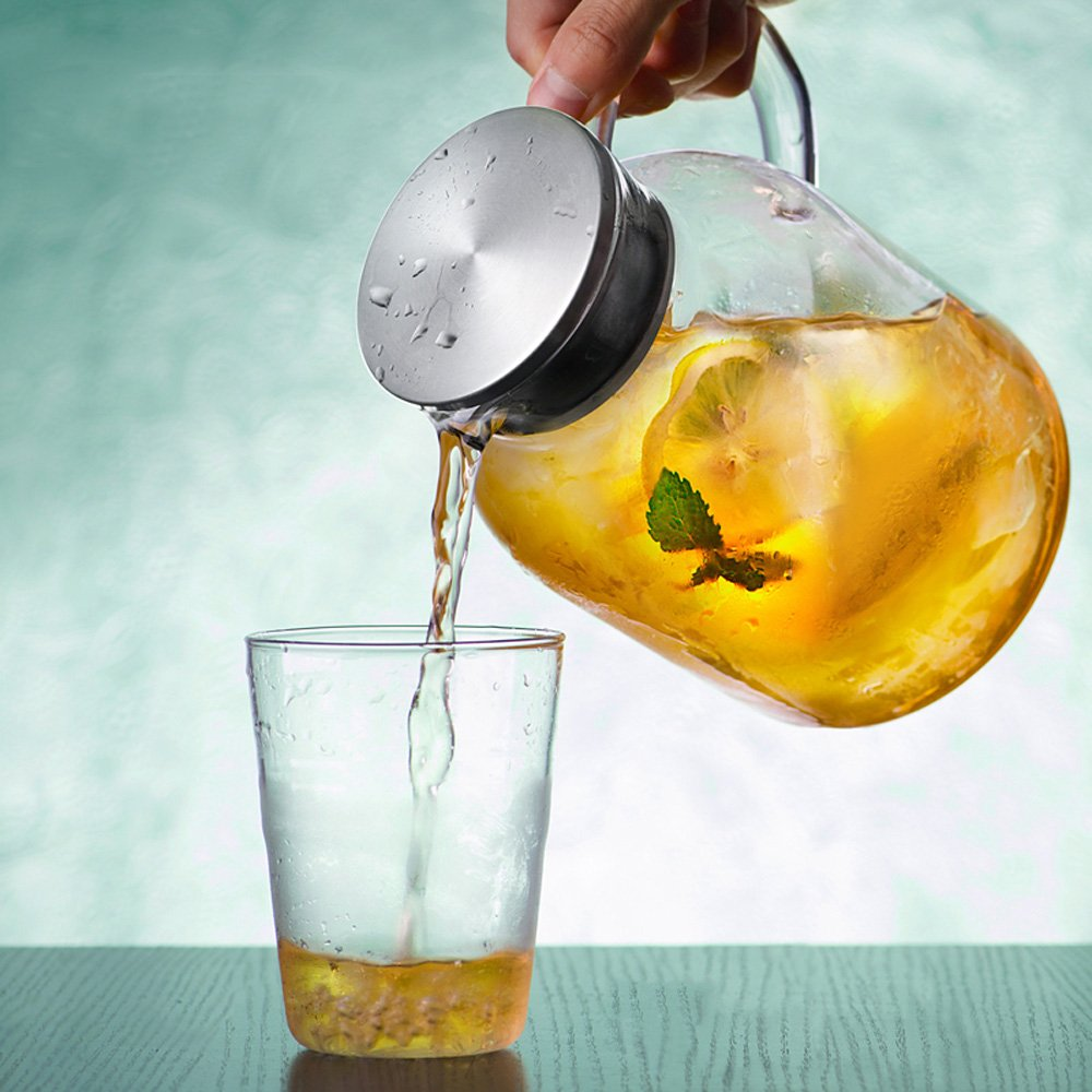 68 Ounces Glass Pitcher with Lid, Water Jug for Hot/Cold Water, Ice Tea and Juice Beverage by Karafu (Image #6)