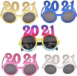 Amazon.com: KESYOO 5Pcs New Years Glasses 2021 Eyeglasses Novelty Sunglasses Fancy Decorative ...