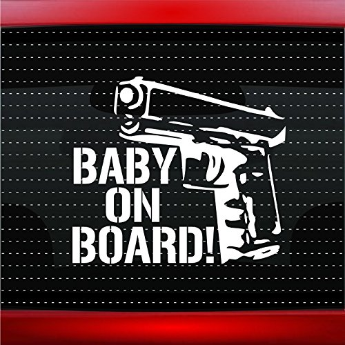 Noizy Graphics Baby On Board # 4 Gun Car Sticker Truck Window Vinyl Decal White