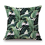 Green Tropical Plant Tree Leaves Pillow Cover Fresh Throw Home Hotel Usage