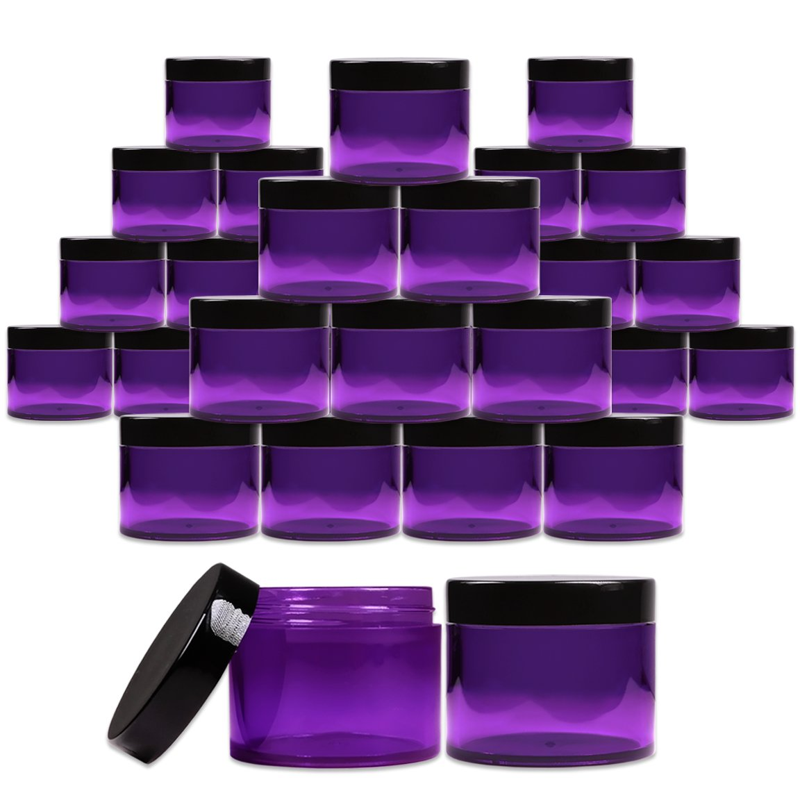 Beauticom 2 oz. (60g /60ML) (Quantity: 36 Packs) Thick Wall Round Leak Proof PURPLE CLEAR Acrylic Jars with BLACK Lids for Beauty, Cream, Cosmetics, Salves, Scrubs by Beauticom