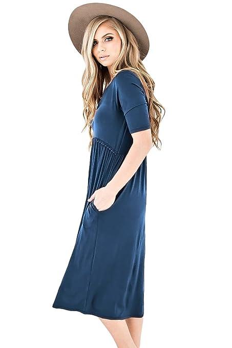 Vestido azul de media manga de punto midi vestido de fiesta vestido de noche vestido medianoche