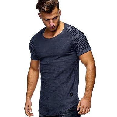 MRULIC Herren Männer T-Shirt Slim Fit Gerippte Ärmel Muscle Cotton Casual  Tops Bluse Shirts a2ce04b55d
