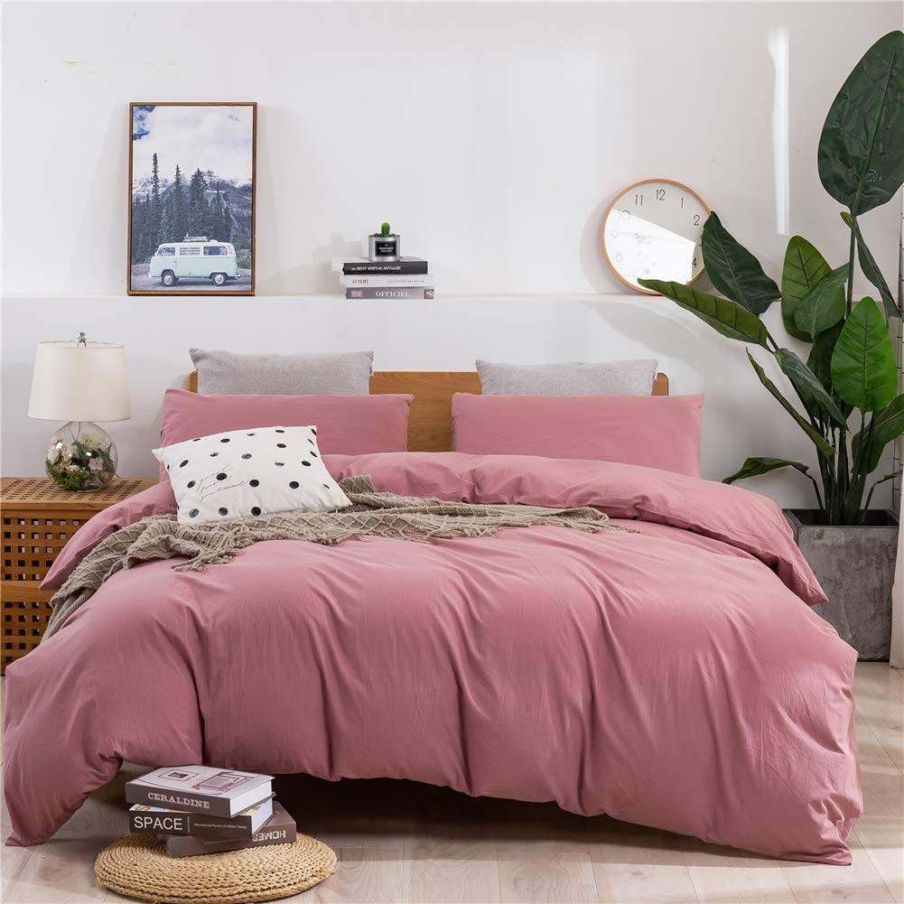 Janlive Washed Cotton Duvet Cover Queen Ultra Soft 100% Natural Cotton Solid Rose Duvet Cover Set with Zipper Closure -3 Pieces Pink Bean Paste Queen