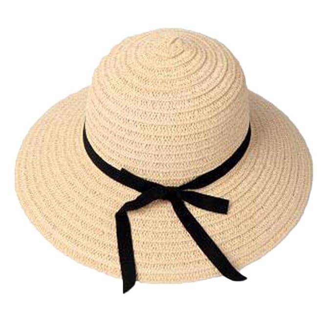 4c11741f3bf PopClotre Women Sun Straw Hat Wide Brim Panama Hat Summer Floppy Beach Hat  UPF50