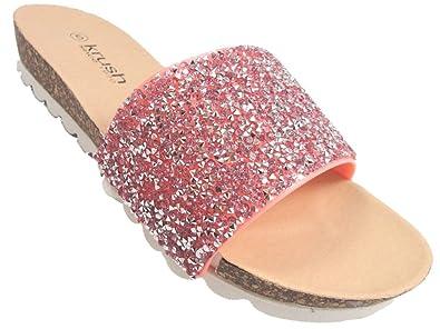 8c1ea34f1de40 Krush Ladies Glitter Mule Flip Flop Beach Sandals Flexi Footbed Pink Turq  Silver Gold (UK