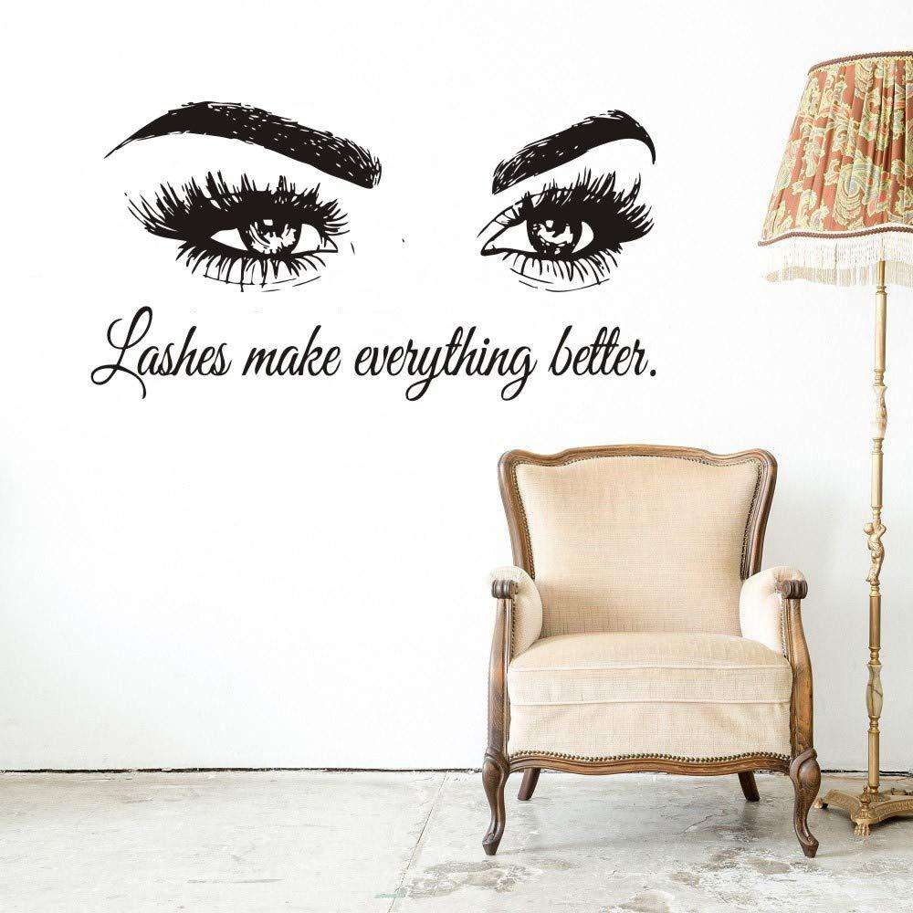 Wall Decal Beauty Salon Quote Sticker Lashes Make everything Better Beautiful Eyes Eyelashes Lashes Extensions Brows Wall Sticker Make Up Wall Window Mural AY1075 (BLACK, 57X103CM) by YOYOYU ART HOME DECOR (Image #5)