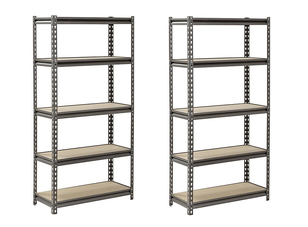 Muscle Rack UR301260PB5P-SV Silver Vein Steel Storage Rack, 5 Adjustable Shelves, 4000 lb. Capacity, 60'' Height x 30'' Width x 12'' Depth (Pack of 2)