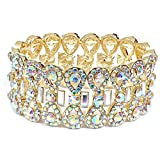 Topwholesalejewel Gold Aurora Borealis Rhinestone Infinity Shape with Rectangle Crystal Stretch Bracelet