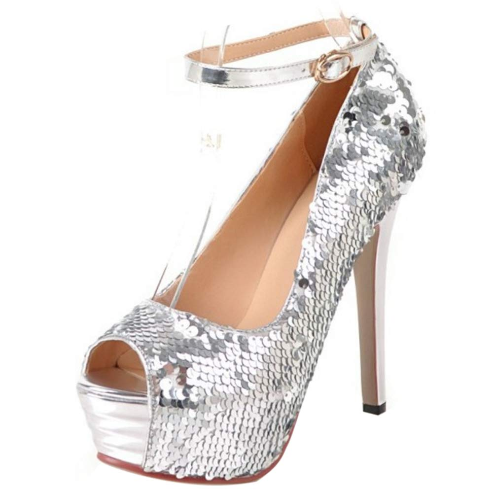 Women's Silver Sequin Peep Toe Ankle Strap Summer High-Heels - DeluxeAdultCostumes.com