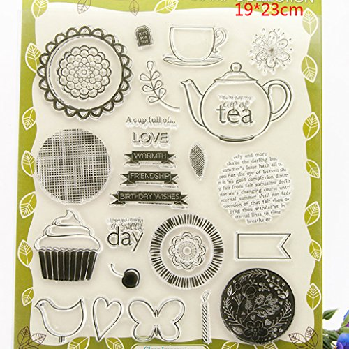 Shoresu Teapot and Ice Cream Clear Stamps Sheets Transparent Silicone Seal for DIY Scrapbooking Craft Card Photo Album Decorative 19x23cm/7.48x9.05