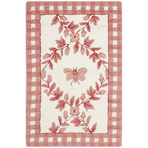 Safavieh Chelsea Collection HK55C Hand-Hooked Ivory and Rose Premium Wool Area Rug (1'8