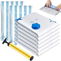 Vacuum Storage Bags 8 Bags - 2 Jumbo + 2 Extra Large + 2 Medium + 2 Roll Up Reusable Storage Bags with Travel Hand Pump…