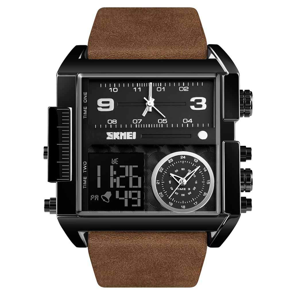 Amazon.com : XBKPLO Mens Quartz Watch, Sport Multi Function Waterproof LED Analog Wrist Watches Square Casual Fashion, Business Leather Strap : Pet Supplies