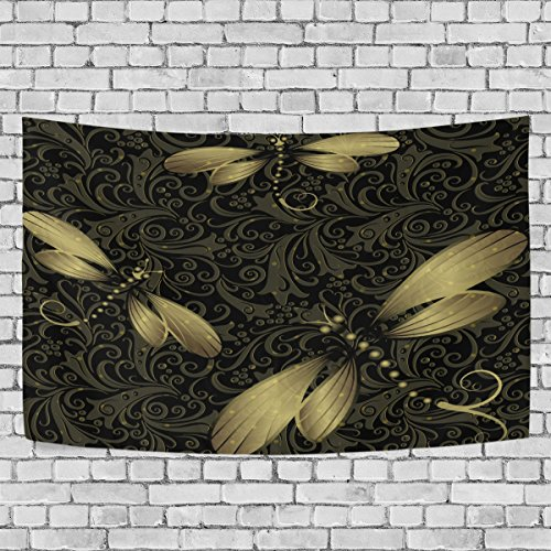 Sunlome Golden Dragonfly Home Decor, Black Gold Vintage Dragonflies Pattern Tapestry Wall Decor Art for Living Room Bedroom Decoration 60 X 40 Inches (Dragonfly Tapestry Wall Hanging)