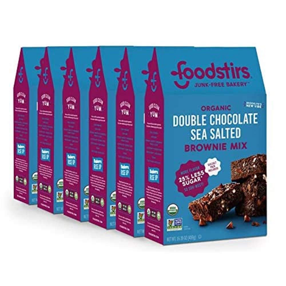 Foodstirs Junk-Free Bakery Organic Double Chocolate Chip Sea Salted Brownie Baking Mix, 16.19 Oz | Non-GMO | Low Sugar (Pack of 6)