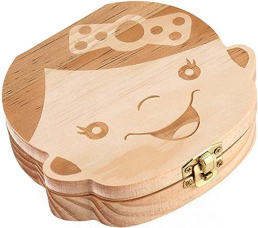 Kentop Leche dientes dientes Souvenir Caja de madera organizador ...