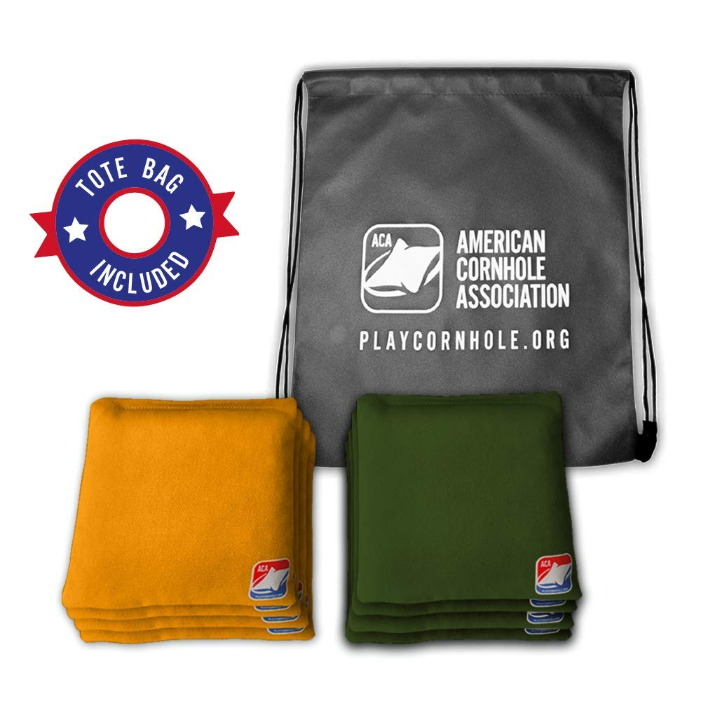 Official Cornhole Bags from The American Cornhole Association - 6'' Double-Stitched Corn-Filled Bean Bags for Corn Hole Outdoor Game - Regulation Size - Gold & Hunter