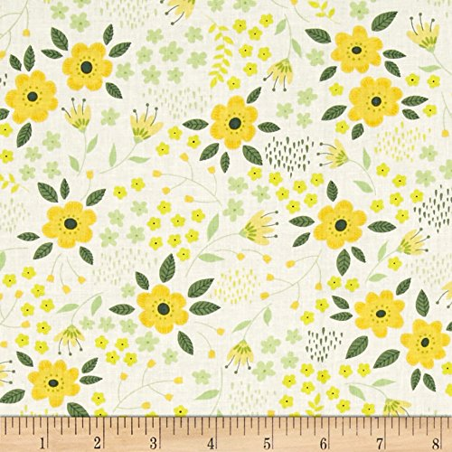 CAMELOT Fabrics Bright Side Blossoms Fabric by the Yard, White