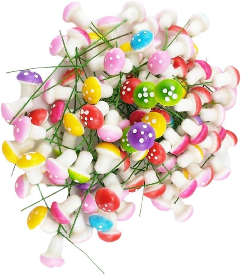 Garneck 60PCS Colorful Mini Mushroom Decoration Mushroom Model for Garden Office Home(Size S Mixed Color)