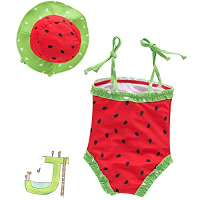 53ec2da3d3 BERTERI One-Piece Cute Red Watermelon Swimsuits with Swimming Cap Bathing  Suits Bikini Swimwear for Baby Girls Kid Take Photos Summmer Beach Outfit  0-6 ...