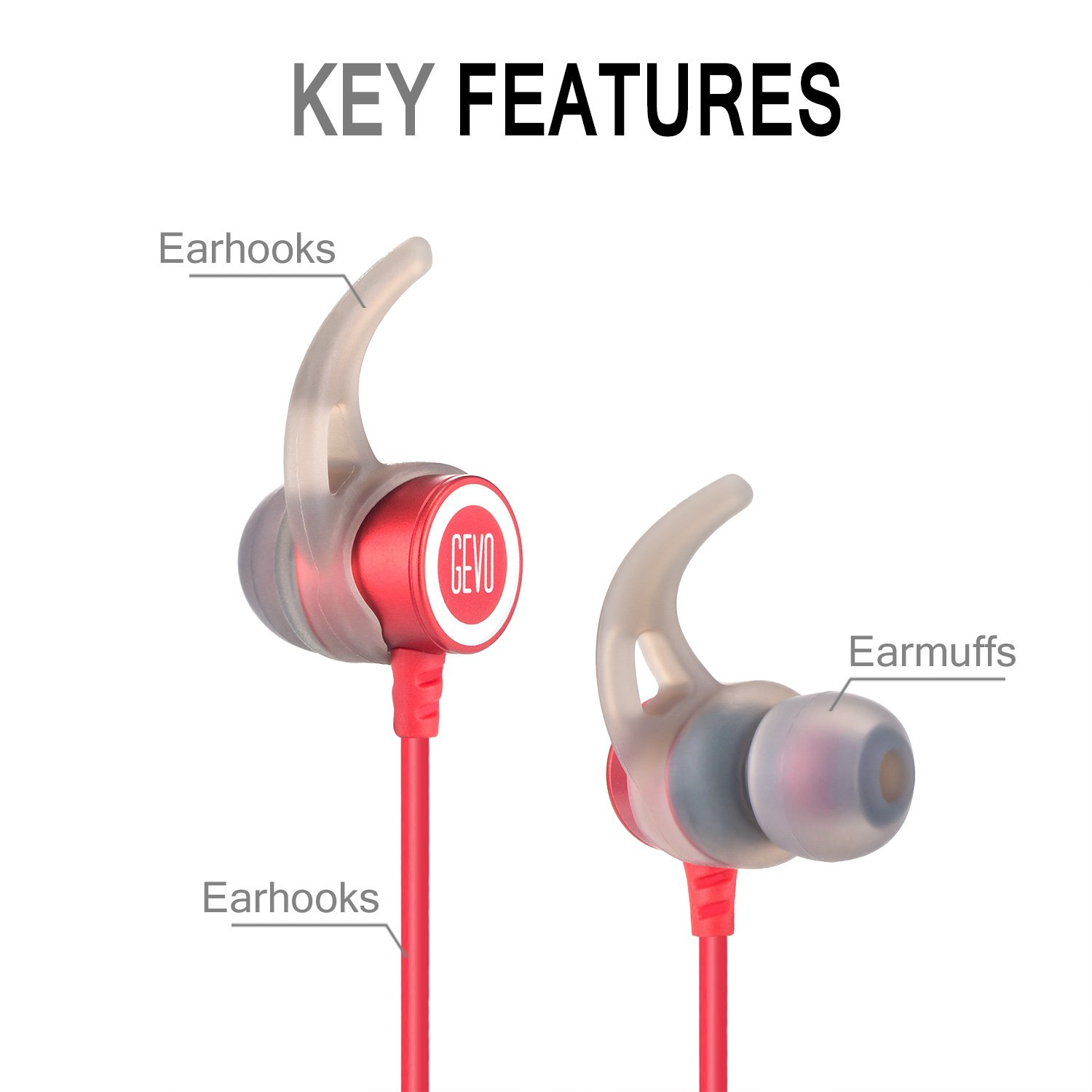 Zakitane In-Ear Earbud Sport Earphones Noise Isolating Headphones with Microphone Stereo Bass Dynamic Crystal Clear Sound, Ergonomic Comfort-Fit, for iPhone 6 / 6 Plus /5 / 5c /SE 4 and Android Phones (Red&White)