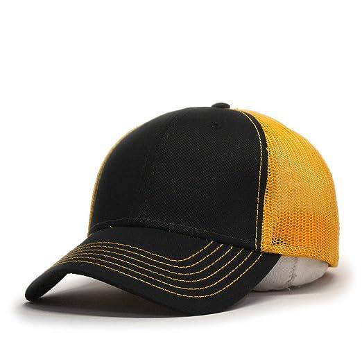 bc1b094cd2bd89 Vintage Year Two Tone Cotton Twill Mesh Adjustable Trucker Baseball Cap  (Black/Black/