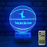 little boy room ideas FlyonSea Basketball Beside 7 Colors Change + Remote Control with Timer Night Light Optical Illusion Lamp As a Gift Ideas for Boys or Kids
