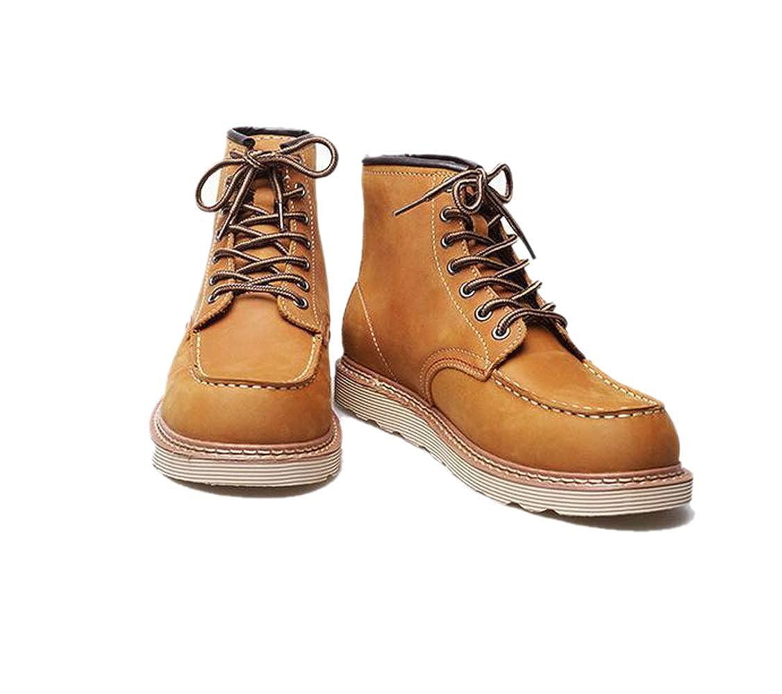 ad9f75e27c87 ... LZMEG Herren Werkzeug Lederschuhe England Hohe Hilfe Werkzeug Herren  Schuhe Casual Business Jugend Yellow 0474cf ...
