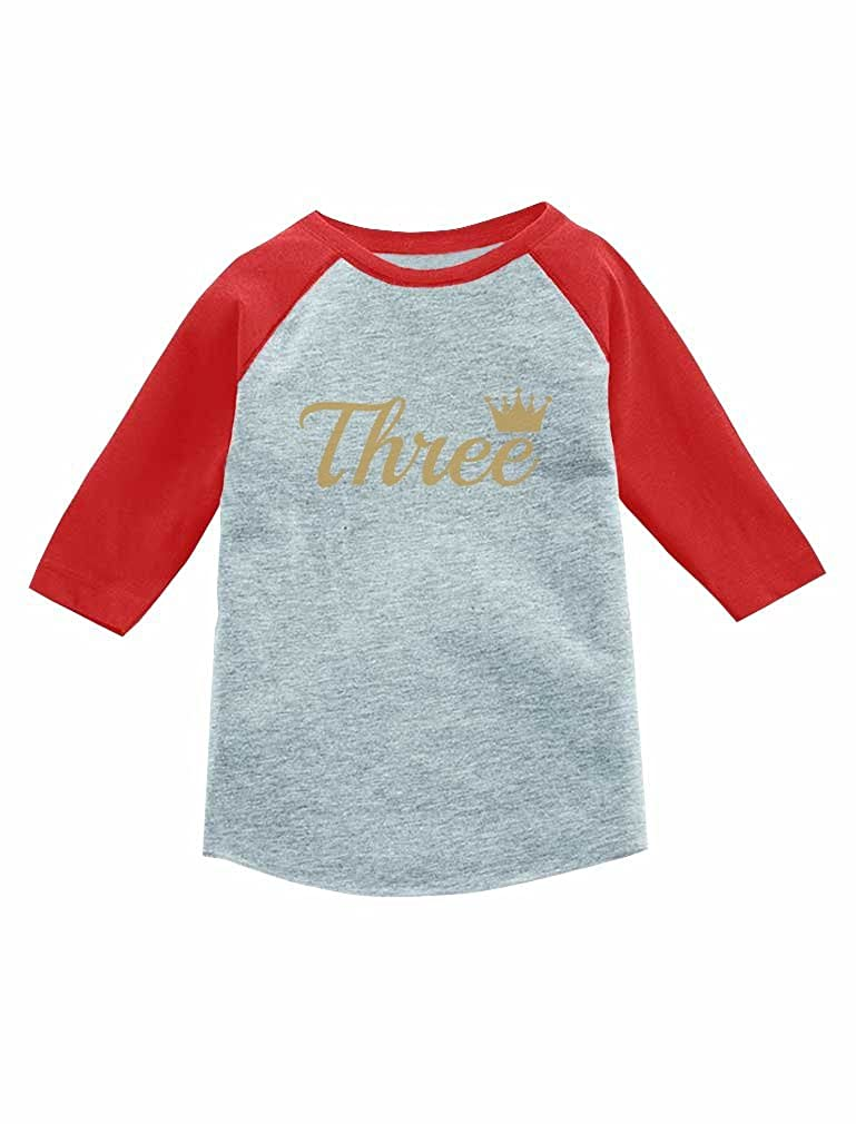 Tstars Third Birthday Gift 3 Year Old Crown 3//4 Sleeve Baseball Jersey Toddler Shirt