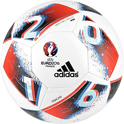 Adidas Performance Euro 16Planeador–Balón de fútbol, White/Bright Blue/Solar Red/Silver Metallic/Mini, Talla 1