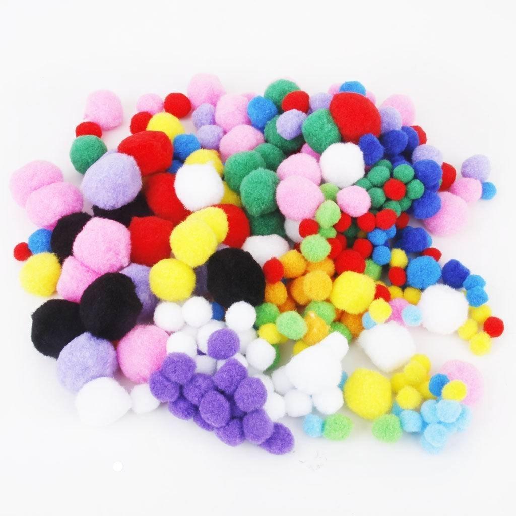 Sungpunetplush coloré Fluffy Pompons Taille Mixte (4 cm/3 cm/2.5 cm/2 cm/1.5 cm) Environ 300 Paquets