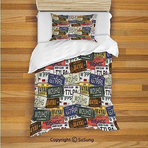 SoSung USA Kids Duvet Cover Set Twin Size, Retro American Auto License Plates Utah Washington Rhode Island North Carolina Print 2 Piece Bedding Set with 1 Pillow Sham,Multicolor ()
