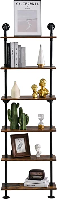 Industrial Ladder Bookcase Pipe Shelving Rustic Wall Shelf Bookcase with Solid Wood Display Storage Bookshelf for Home, Office, Living Room(6-Tiers)