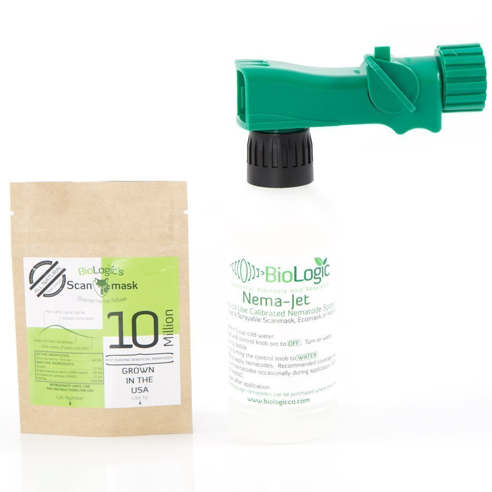 BioLogic Scanmask Steinernema Feltiae (Sf) Beneficial Nematodes for Natural Insect Pest Control, 10 Million Size with Nema-Jet Hose End Applicator by BioLogic