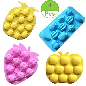 Sakolla Fruits Silicone Mold, Gummy Molds Candy Mold Strawberries Pineapples Apples Grapes Chocolate Mold Ice Cube Tray - Set of 4