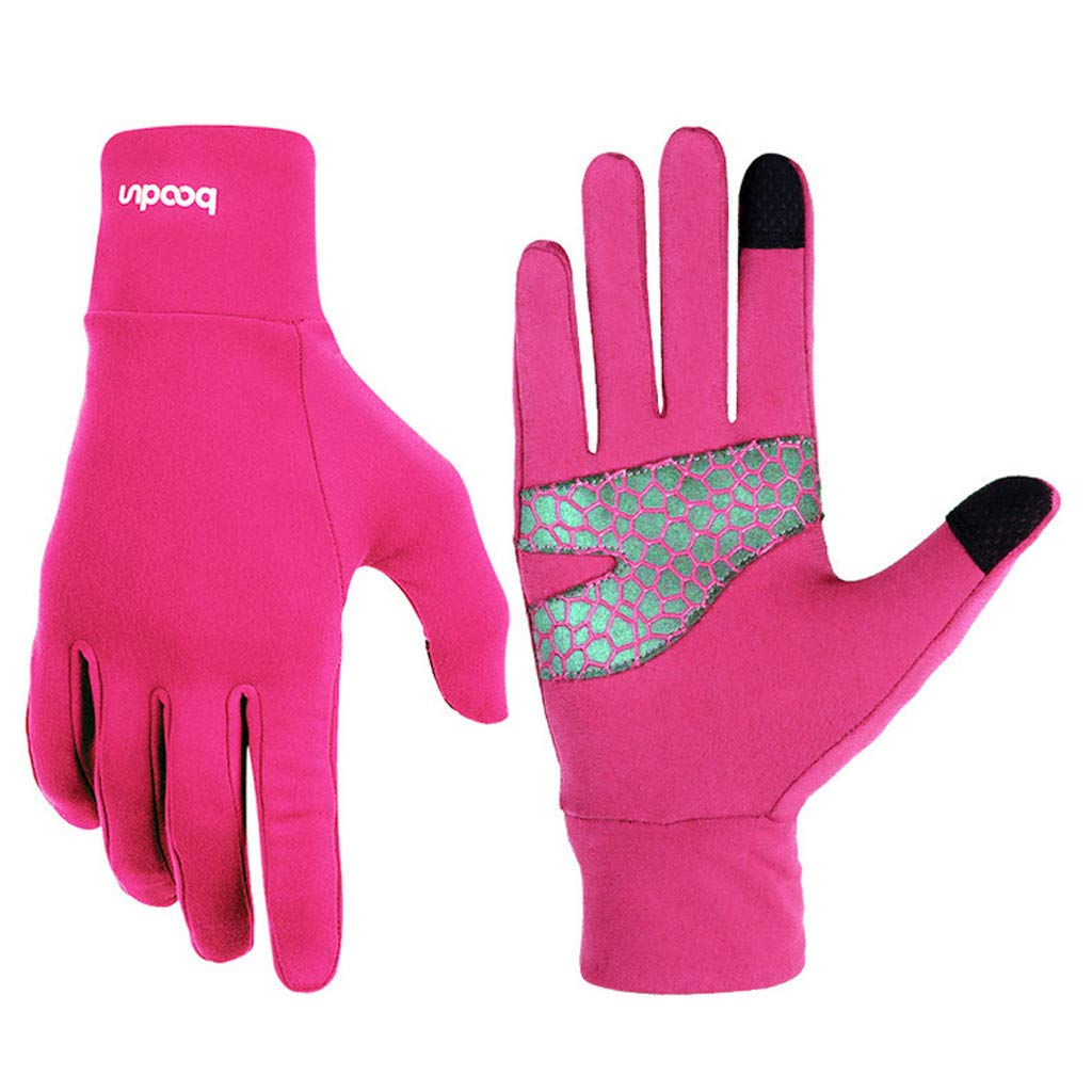 Unisex Winter Gloves, Warm Thermal Gloves Running Gloves Cold Weather Gloves Driving Riding Cycling Gloves Outdoor Sports Gloves for Men and Women (Hot Pink, L)