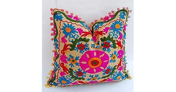 Amazon.com: 2 piezas hecho a mano Cojín Cojín de algodón ...