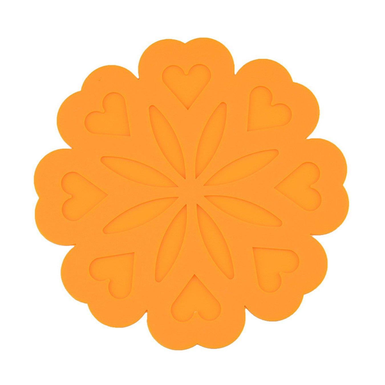 linshing-peach花型シリカゲルカップマットコースター6個(オレンジ)   B077TQSGX6