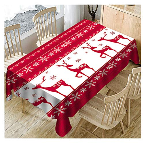 Staron  Christmas Tablecloth for Rectangle Tables - Rectangle Tablecloths Fabric Christmas Reindeer Pattern Printed Table Cloth Xmas Table Covers Decor Deer Snowflake Tablecloth ()