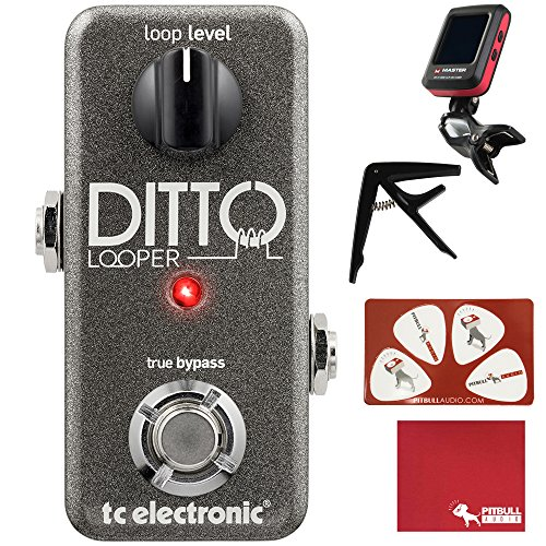 TC Electronic Ditto Looper Guitar Effects Pedal with Polish Cloth, Pick Card, Tuner, and Capo by Pitbull