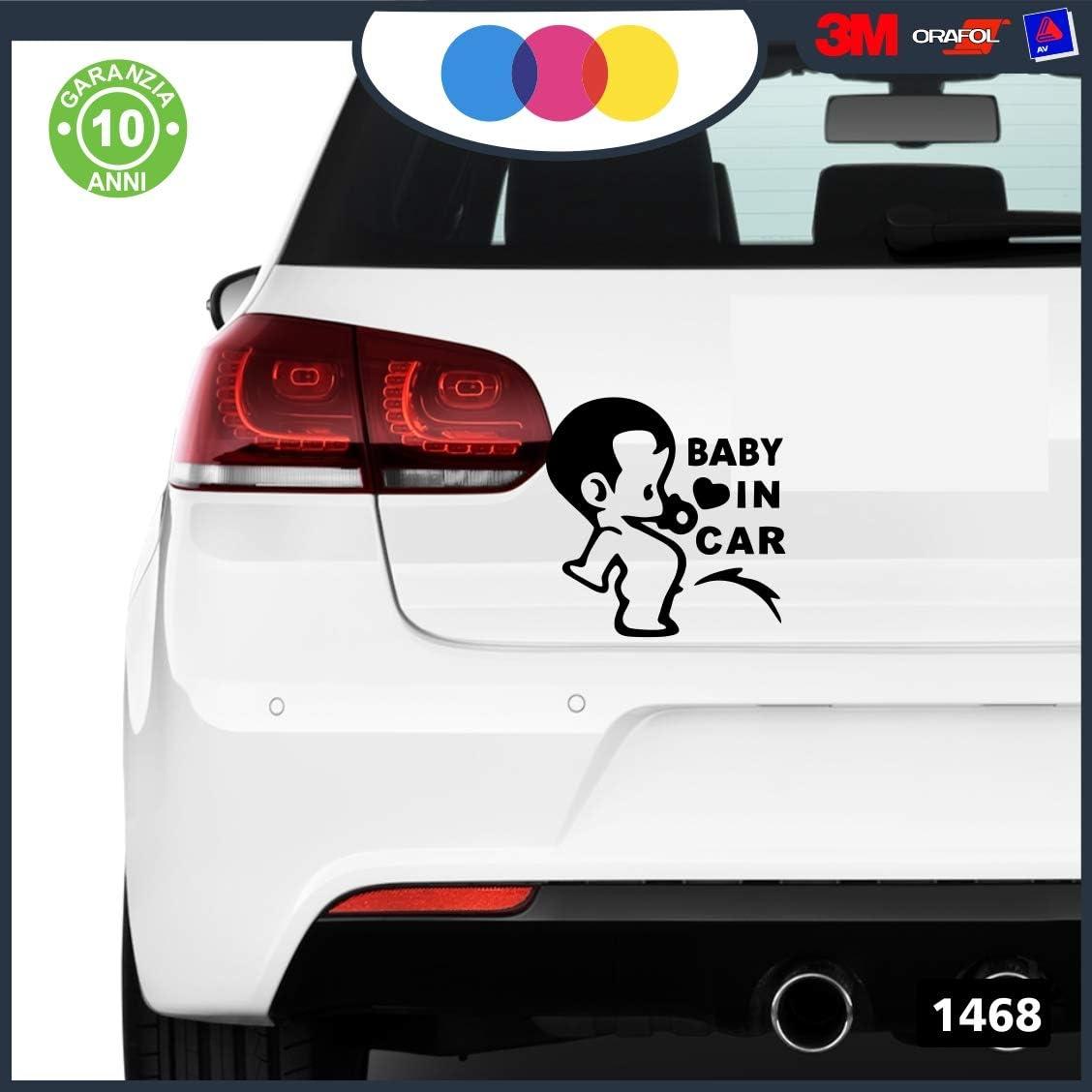 Apto para Coche Ni/ño a Bordo 3 Moto y Ordenador mural stickers Pegatina de beb/é a Bordo Adhesivo Copyright /© 2017 Negro Ni/ña a Bordo