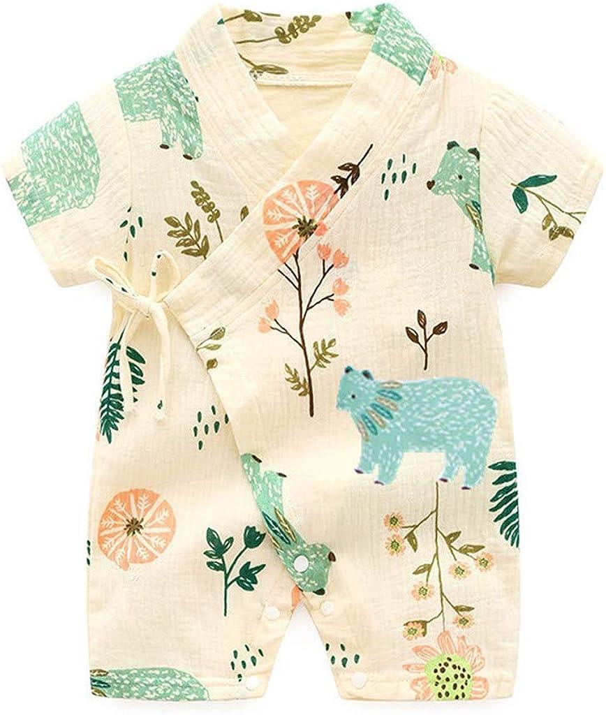 Neugeborenes Baby M/ädchen Jungen Niedlich Pflanze Drucken Schlafoverall Japanischer Stil Kimono Schlafstrampler 0-24Monate WEXCV Babykleidung Satz