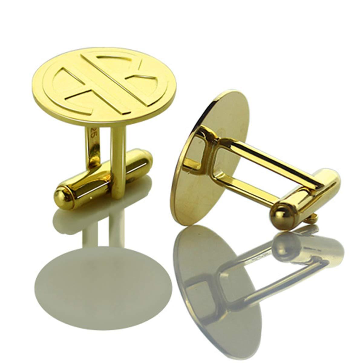 AILIN Personalized Disc Block Monogram Initials Cuff Links Custom Wedding Cufflinks Gift for Men Father Dad Husband Boy Gold