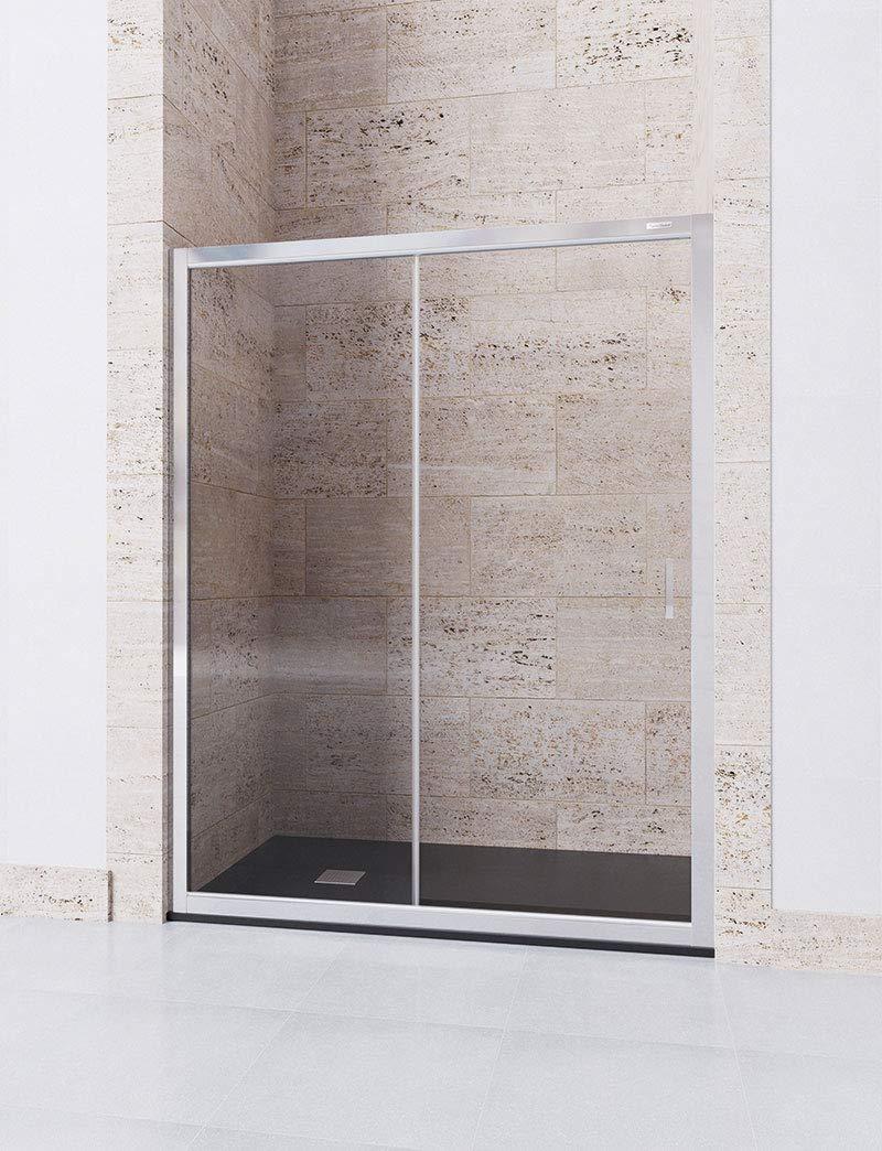 Mampara de Ducha Frontal 167-171 1 Hoja Fija y 1 Hoja Corredera Modelo DORA Cristal 6 mm con ANTICAL INCLUIDO