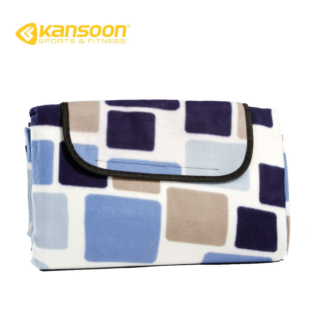 KANSOON Outdoor Dual-Layers Picnic Blanket, Blanket Easy to Clean Texture and Machine Washable, All Purpose Water-Resistant Mat with Straps, Handy Mat Tote Waterproof & Sandproof (Blue Grids)