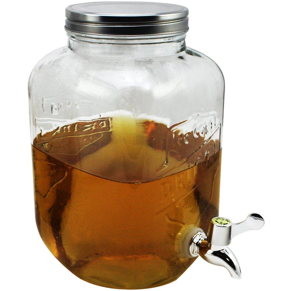 COM-FOUR/® Dispensador de agua y jugo con tap/ón de rosca dispensador de bebidas hecho de vidrio en dise/ño de tarro de alba/ñil con pico 01 pieza - 3,5 litros hasta 3.5 L