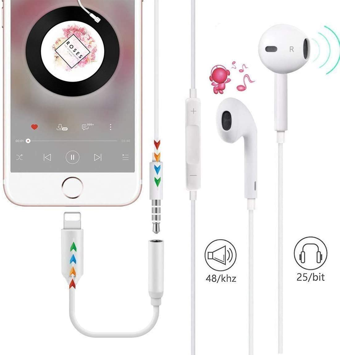 Lighting to 3.5mm Headphones Earbuds Jack Adapter Aux Cable Earphones Headphone Converter Accessories Support iOS 12 Compatible with iPhone 11 Pro Max//Xs MAX//XR//X//8 Plus//7 Plus//ipad//iPod Upgraded