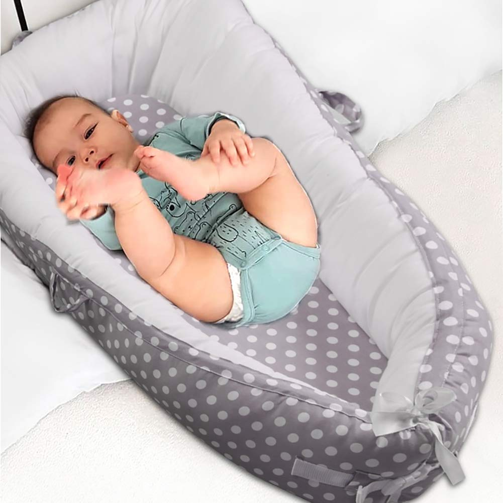100/% Cotton Swaddling Wrap for Newborn /& Babies. Luchild Multifunctional Baby Nest Round dot Gray Soft Sleeping Cribs Cuddle Pads