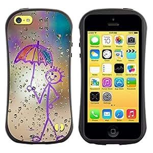 All-Round híbrido de goma duro caso cubierta protectora Accesorio Generación-I BY RAYDREAMMM - Apple iPhone 5C - Childrens Drawing Stickman Art Umbrella Rain